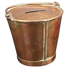 Copper Money Box bucket Shaped c 1900