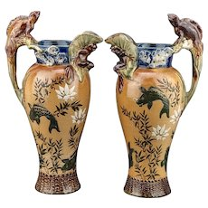 Pair of Doulton Lambeth Grotesque Art Pottery Jug Frog and Lizard Design
