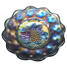 Imperial Carnival Glass Iridescent Blue Heavy Grape Plate