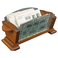 Art Deco Wood and Textured Glass Desk Letter Holder