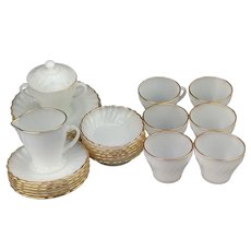 Milk Glass Gold Trim Rim Tea Set By Anchor Hocking