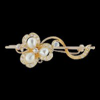 A Victorian Pearl And Diamond Clover Brooch
