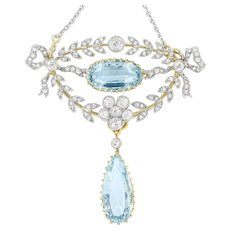 A Late Victorian Aquamarine And Diamond Laurel Brooch