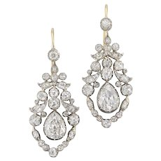 A Pair Of Late Georgian Diamond Drop Earrings