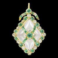 A Victorian Emerald, Diamond And Crystal Pendant