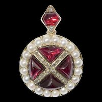 A Victorian Garnet, Pearl And Diamond Brooch/pendant