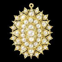 A Victorian Natural Half Pearl And Diamond Brooch-pendant