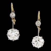 A pair of late Victorian diamond drop earrings
