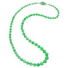 A Graduate Jadeite Jade Bead Necklace With Art Deco Clasp