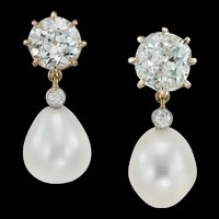 A Pair Of Diamond And Pearl Drop Earrings