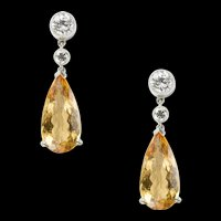 A Pair Of Topaz And Diamond Drop Earrings