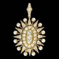 A Victorian Pearl And Diamond Oval Star Pendant Brooch