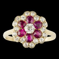 A Ruby And Diamond Floral Cluster Ring