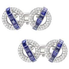 A Pair Of Mid-20th Century Sapphire And Diamond Cufflinks