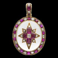 A Victorian Ruby, Diamond And Crystal Pendant