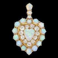 A Russian Opal And Diamond Heart Pendant