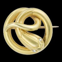 A Second Empire Yellow Gold And Diamond Serpent Brooch