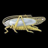 A Vintage Gold Mounted Grasshopper Brooch