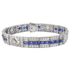 A Fine Art Deco Tiffany Sapphire And Diamond Bracelet