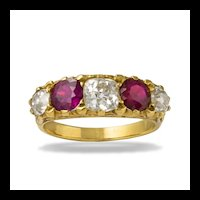 A Victorian Style Five-stone Ruby And Diamond Ring