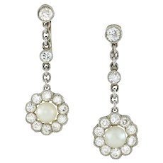 An Edwardian Pair Of Pearl And Diamond Earrings