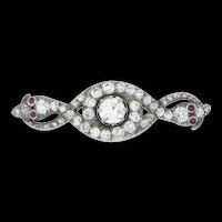 A Victorian Diamond Double Serpent Brooch