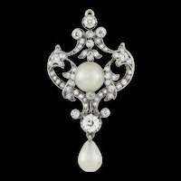 A Late Victorian Natural Pearl And Diamond Brooch/pendant