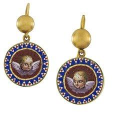 A Pair Of Victorian Micro-mosaic Putti Earrings