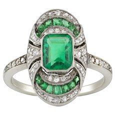 An Art Deco Emerald And Diamond Ring
