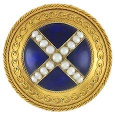 A Victorian Circular Blue Enamel, Pearl And Gold Brooch