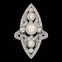 A Belle Epoque Natural Pearl And Diamond Navette-shaped Ring