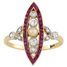 A Continental Pearl, Diamond And Synthetic Ruby Navette Ring