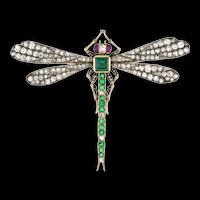 A Late Victorian Emerald, Diamond And Ruby Dragonfly Brooch