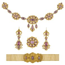 A Georgian Pink Topaz And Gold Cannetille Suite