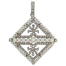 An Edwardian Pearl And Diamond Kite-shaped Pendant