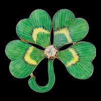 A Late 19th Century Enamel And Diamond Four-clover Brooch