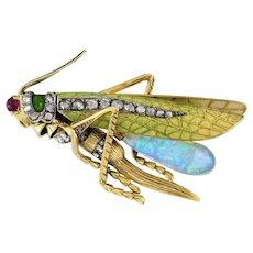 An Art Nouveau Grasshopper Brooch