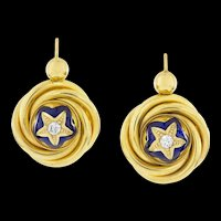 A Pair Of Victorian 18k Gold, Diamond And Enamel Drop Earrings