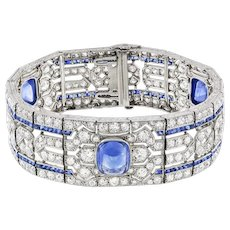 An Important Art Deco Sapphire And Diamond Bracelet By Yard