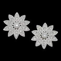 A Pair Of Diamond-set Daisy Earrings
