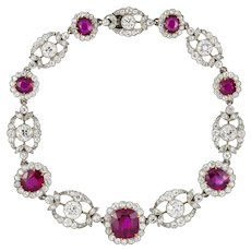 An Edwardian Ruby And Diamond Bracelet