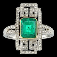 An Art Deco Emerald And Diamond Plaque Ring