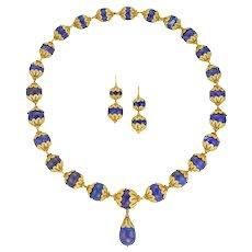 A 19th Century Lapis Lazuli Bead And Gold Demi-parure