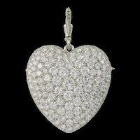 A Large Pave Diamond Set Heart Brooch Pendant