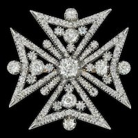 A Regency Diamond Maltese Cross Pendant/brooch