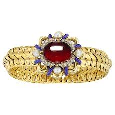 A Victorian Garnet, Diamond And Pearl Bracelet