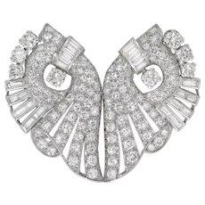 An Art Deco Diamond Set Double-clip Brooch