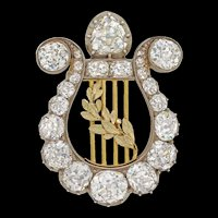 A Late Victorian Diamond Lyre Brooch