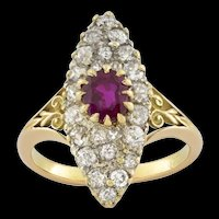 A Victorian Ruby And Diamond Marquise Shape Cluster Ring