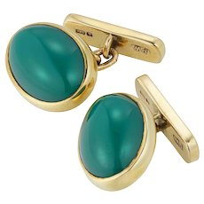 A Pair Of Vintage Chrysoprase And Gold Cufflinks